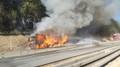 Požár kamionu na D1 ve směru na Brno