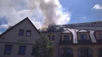Požár hotelu Zlatá Lípa v Děčíně