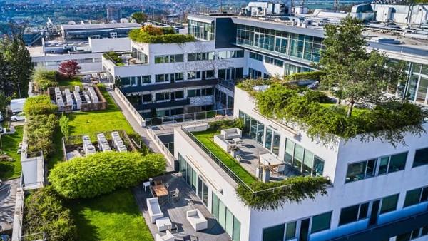 Zelená střecha - budova TV Nova