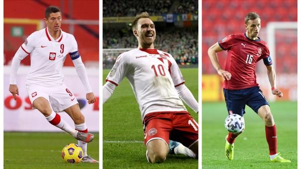 Tomáš Souček, Robert Lewandowski a Christian Eriksen