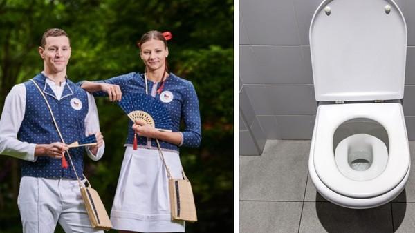 Čeští olympionici a ilustrační fotografie toalet.