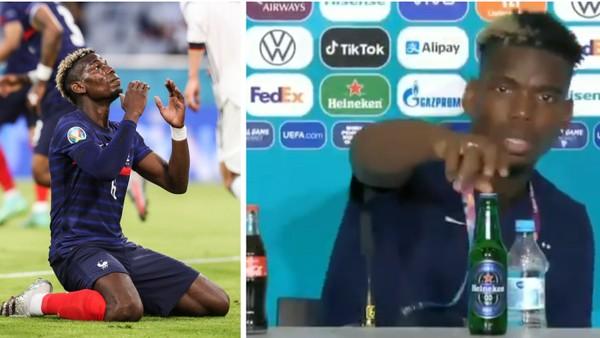 Paul Pogba během tiskové konference odstranil láhev s pivem