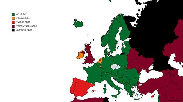 Seznam zemí podle míry rizika nákazy (aktualizace 11. 7. 2021)