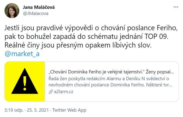 Tweet Jany Maláčové