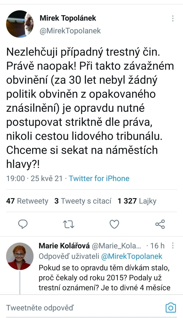Tweet Miroslava Topolánka