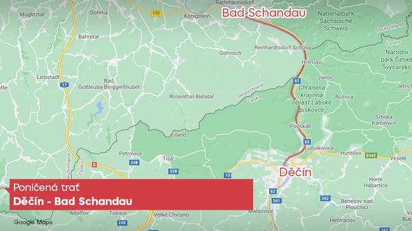 Poničená trať Děčín - Bad Schandau